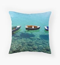Three boats in Lanzarote Throw Pillow