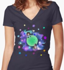 Space Grumps Women's Fitted V-Neck T-Shirt
