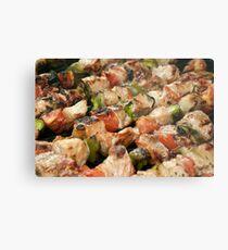 Pork and Vegetable Souvlaki on Grill Metal Print