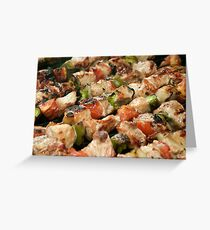 Pork and Vegetable Souvlaki on Grill Greeting Card