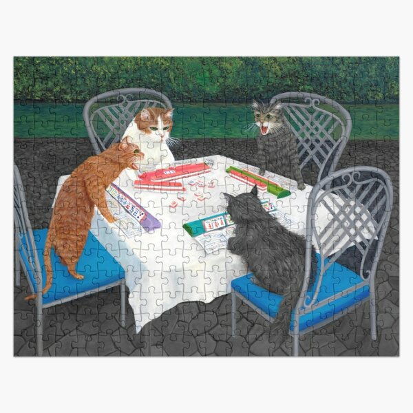 Cats Playing Mahjong in the Garden Jigsaw Puzzle