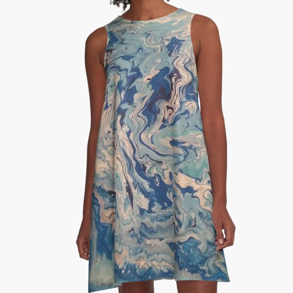 Ocean Wishy Washy Painting A-Line Dress