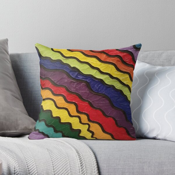 Rainbow Happiness Painting Throw Pillow