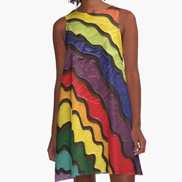Rainbow Happiness Painting A-Line Dress