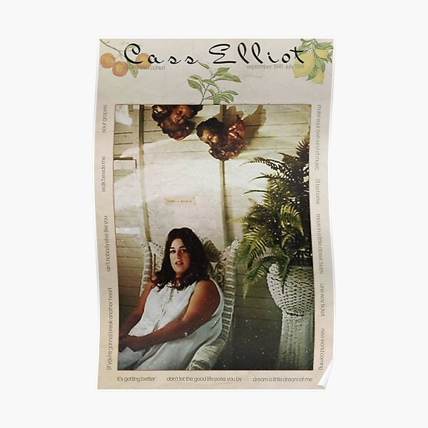 mama cass elliot vintage 70s mamas and the papas fruit leaves  Poster