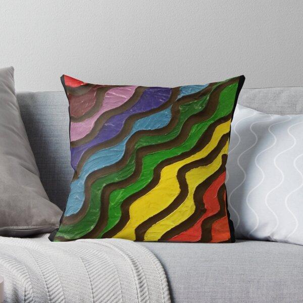 Rainbow Waves Painting Throw Pillow