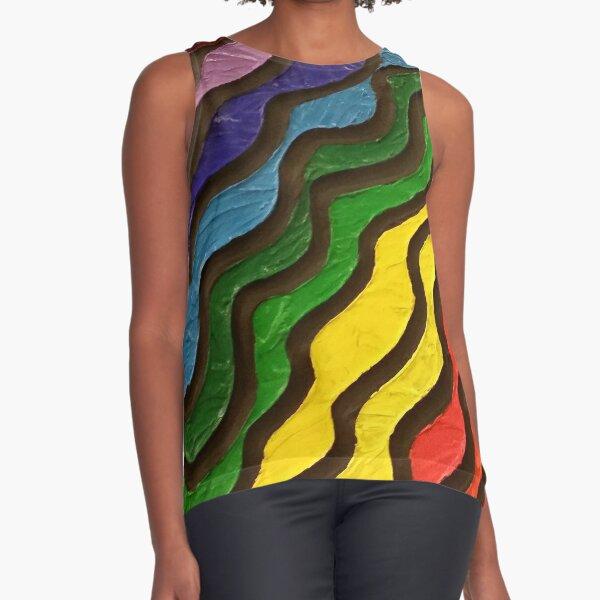 Rainbow Waves Painting Sleeveless Top