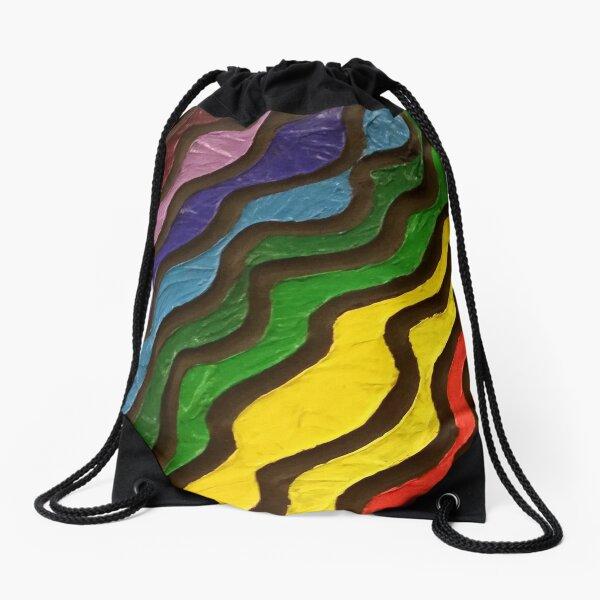 Rainbow Waves Painting Drawstring Bag
