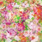 Colorful Watercolors Flowers Collage Illustration by artonwear