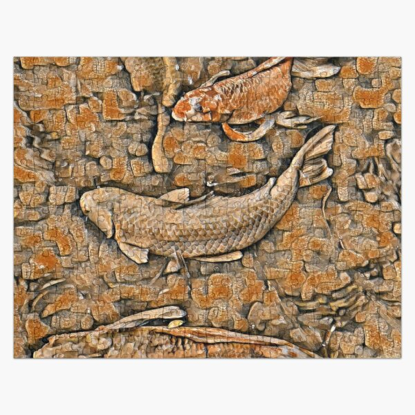 Koi Fish Swimming in a Rock Wall Jigsaw Puzzle
