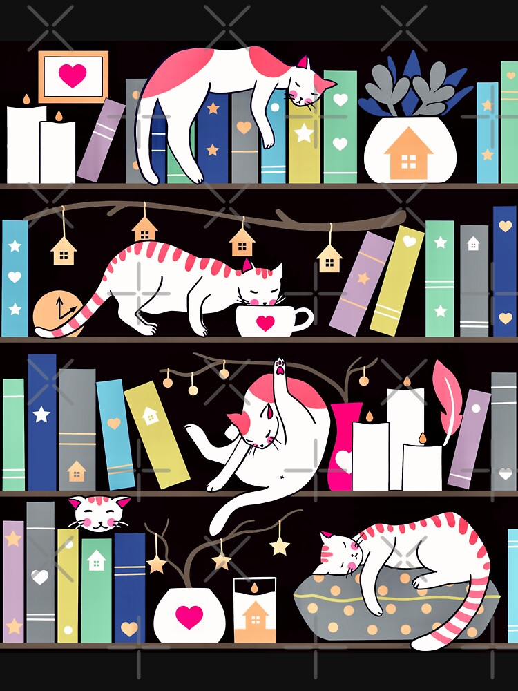 Library cats - winter colour version by Elenanaylor