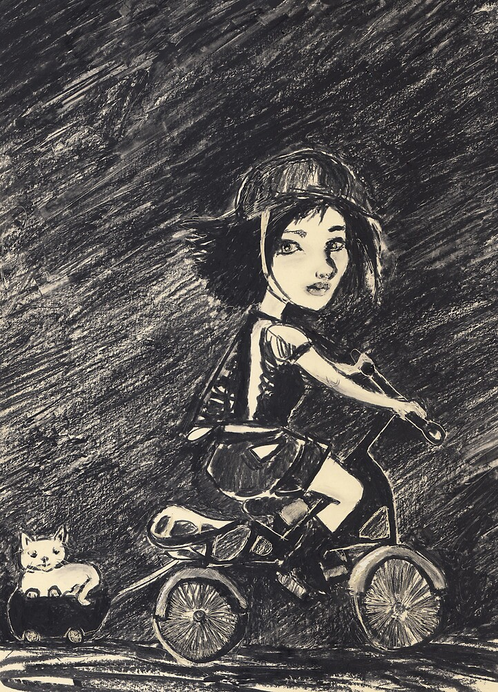 Crazy cat girl biking by Ida Jokela