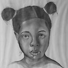 Charcol Drawing - Little Black Girl by Tom Broderick IPA