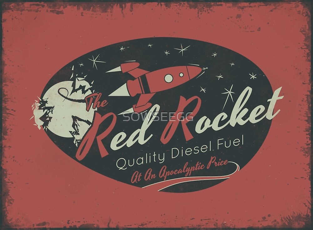 Red Rocket (Distressed) by SOWSEEGG