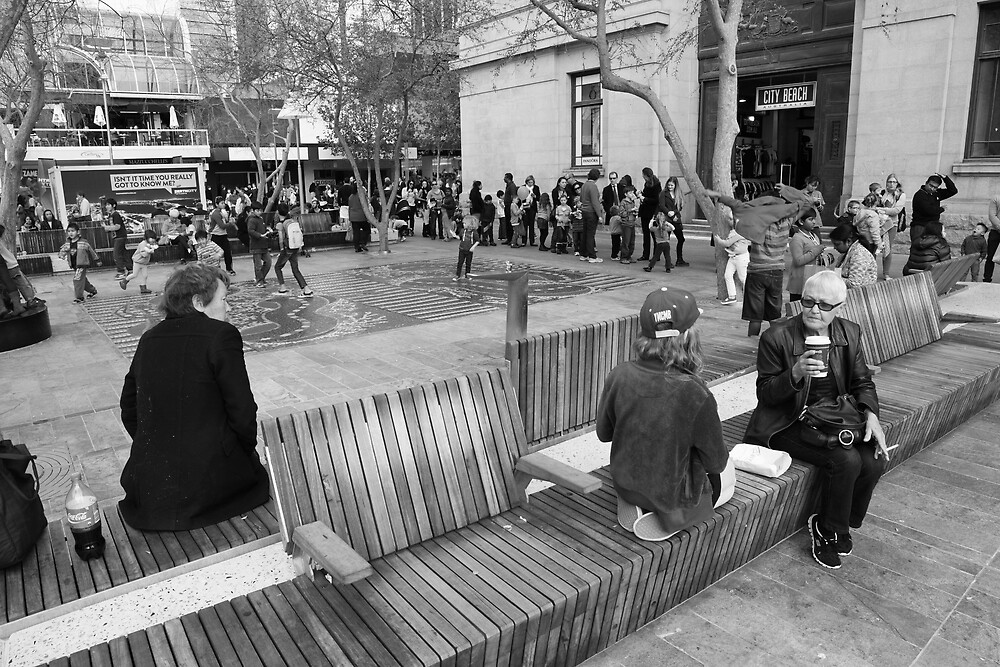 Two Old Ladies Forrest Place Perth by Andrew  Makowiecki