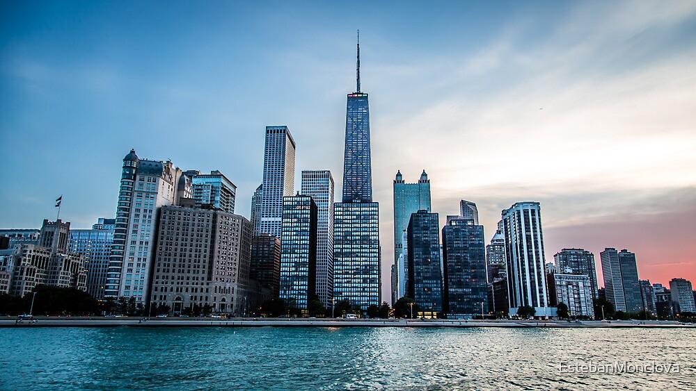Chicago Sunset Skyline by EstebanMonclova