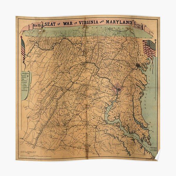 Virginia Battlefields Map Posters Redbubble