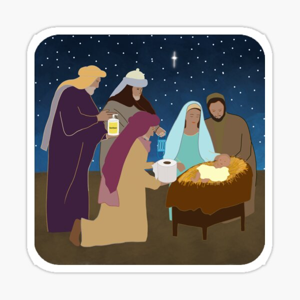 Quarantine christmas nativity  Sticker