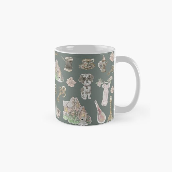 Cottage Witch Pattern - Wrap Around with Dark Background Classic Mug