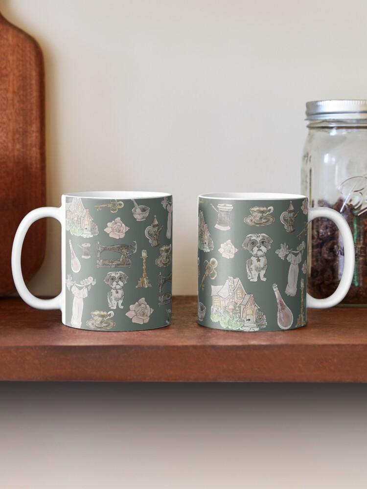 Alternate view of Cottage Witch Pattern - Wrap Around with Dark Background Mug