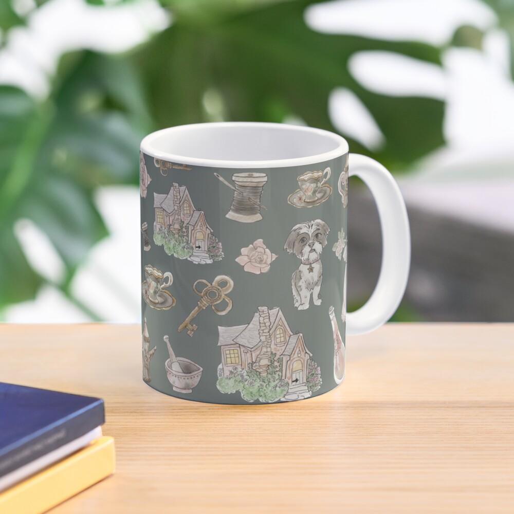 Cottage Witch Pattern - Wrap Around with Dark Background Mug