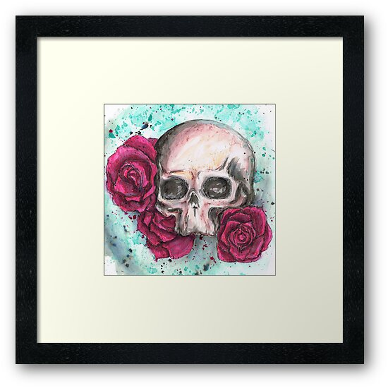 Skull and roses by beckoid