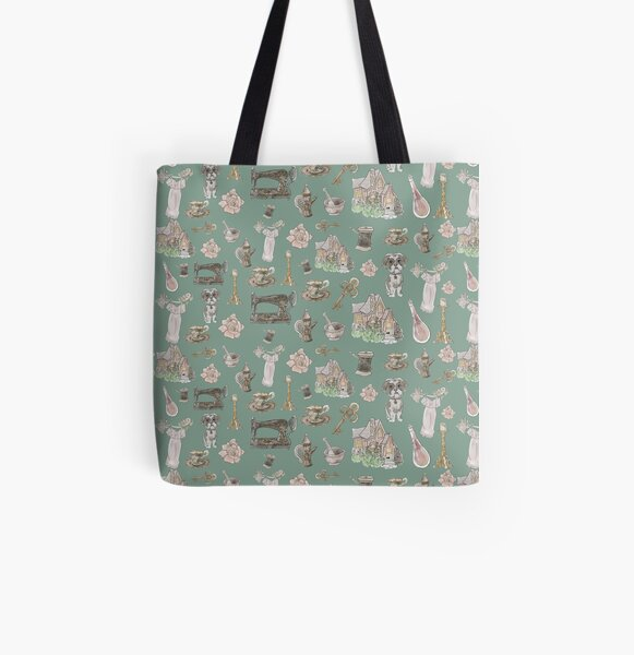 Cottage Witch Pattern - Wrap Around with Moss Background All Over Print Tote Bag