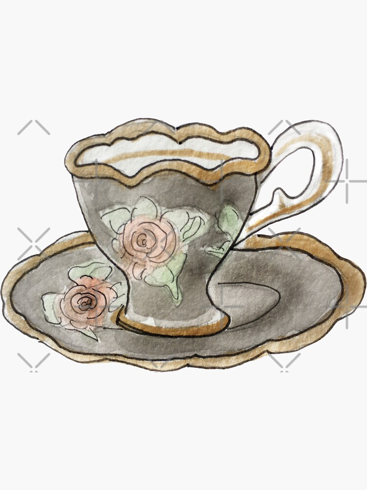 Antique Black & Pink Teacup with Rose Pattern Illustration in Watercolor by WitchofWhimsy