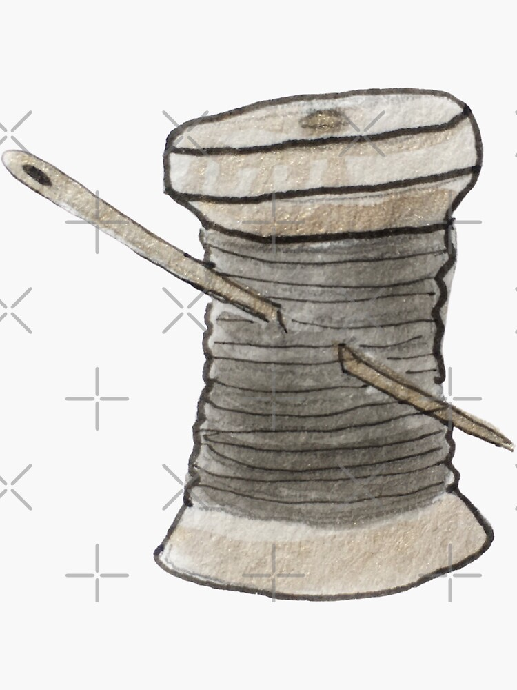 Spool of Black Thread and Gold Needle Illustration in Watercolor by WitchofWhimsy