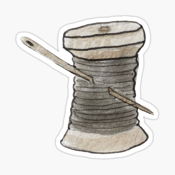 Spool of Black Thread and Gold Needle Illustration in Watercolor Sticker
