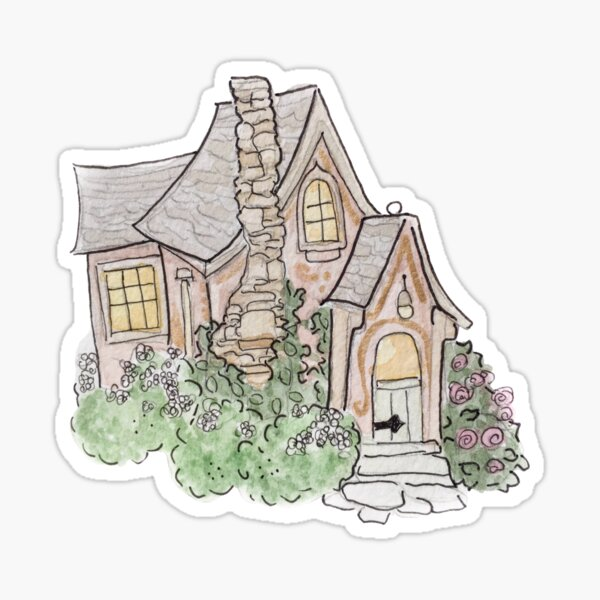 The Witch's Cottage Illustration in Watercolor Sticker