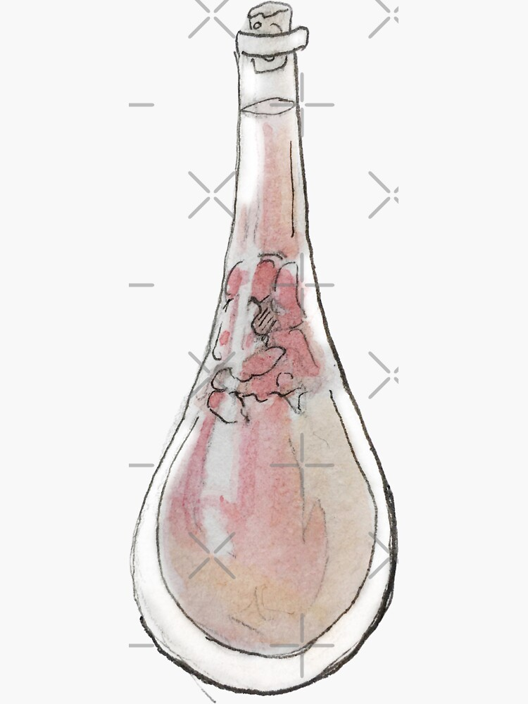 Rose Oil in a Cork Stopped Vial Illustration in Watercolor by WitchofWhimsy