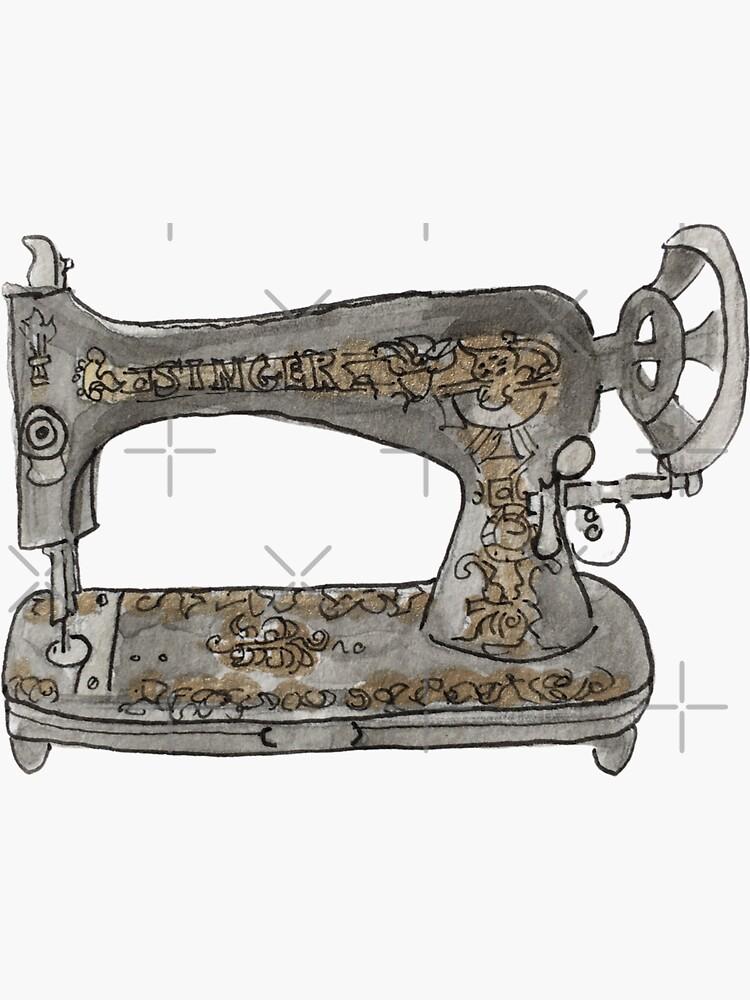 Vintage Hand Crank Sewing Machine with Gold Filigree Illustration in Watercolor by WitchofWhimsy