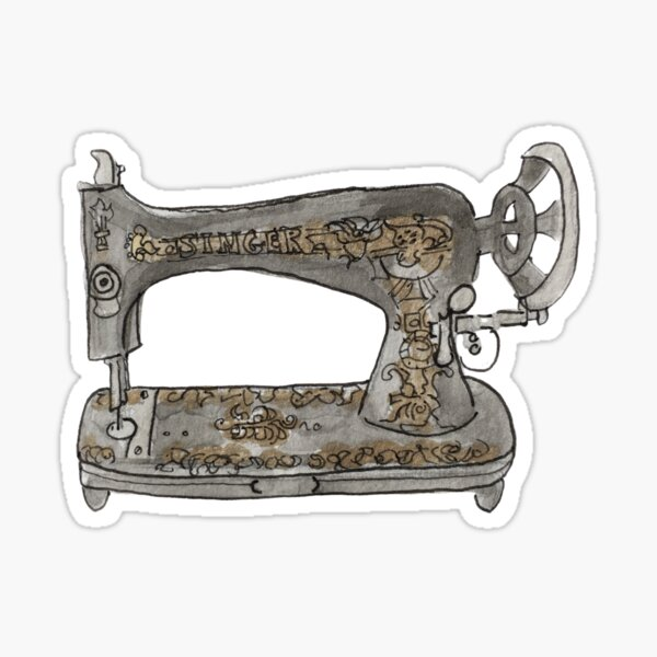 Vintage Hand Crank Sewing Machine with Gold Filigree Illustration in Watercolor Sticker