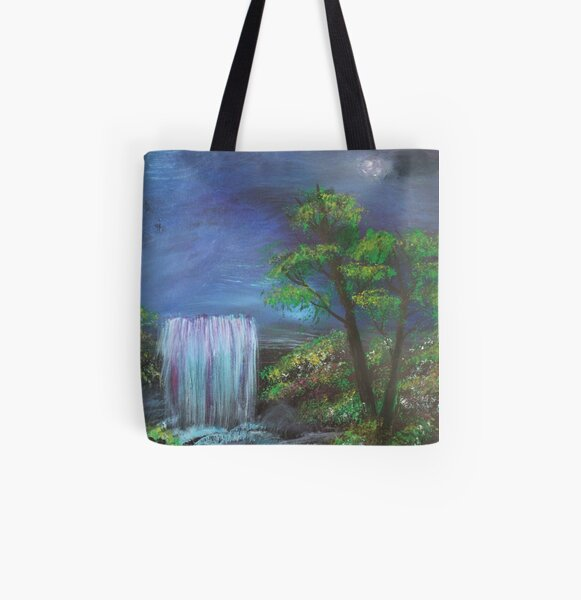 Fantasy Falls Painting All Over Print Tote Bag