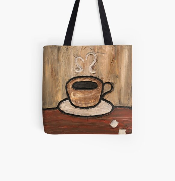 Mixed Media Coffee Cup Painting All Over Print Tote Bag