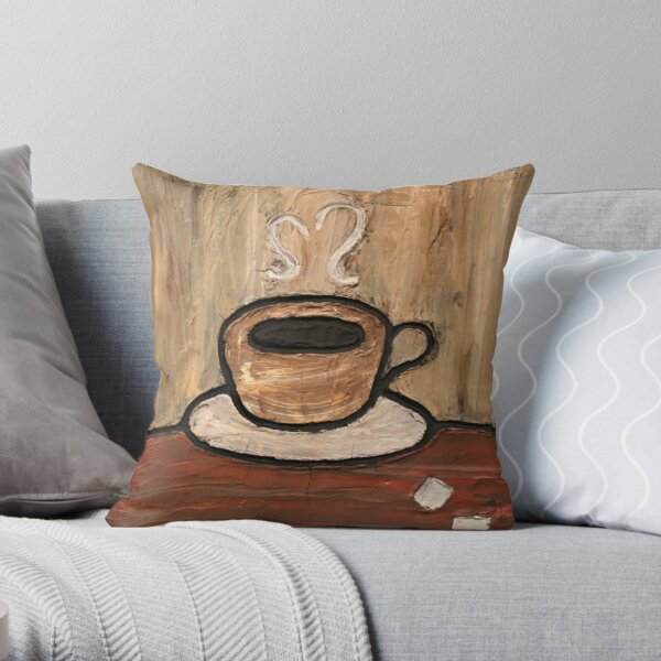 Mixed Media Coffee Cup Painting Throw Pillow