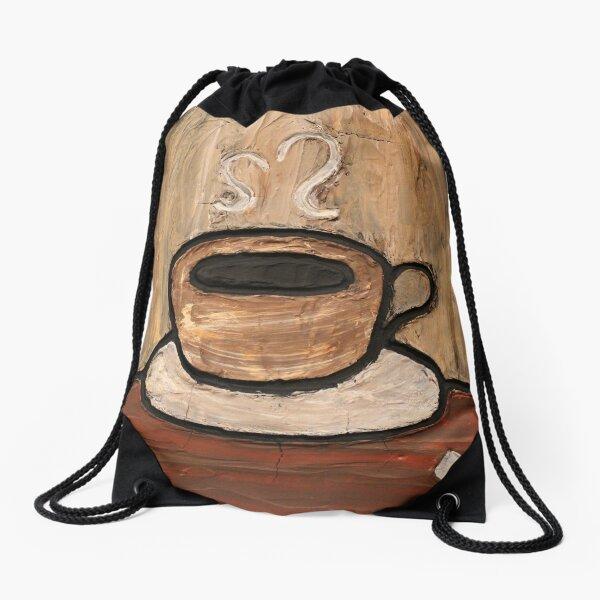 Mixed Media Coffee Cup Painting Drawstring Bag