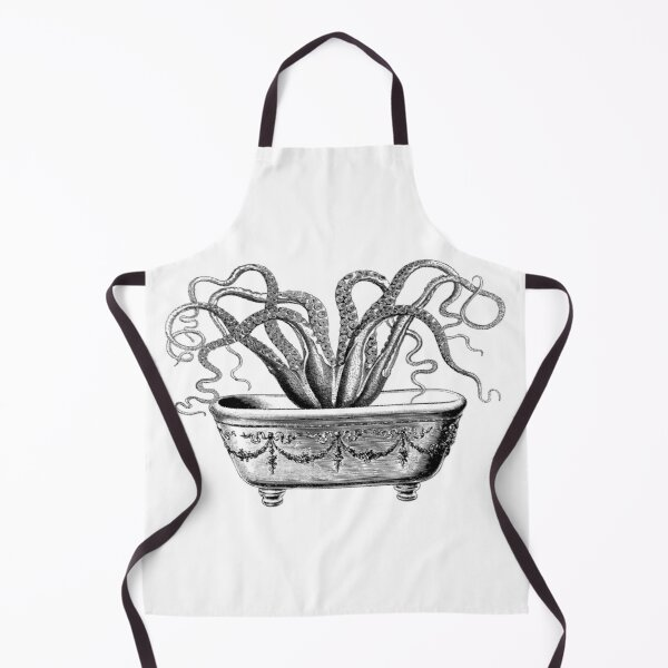 Tentacles in the Tub | Octopus in Bathtub | Vintage Octopus | Black and White |  Apron