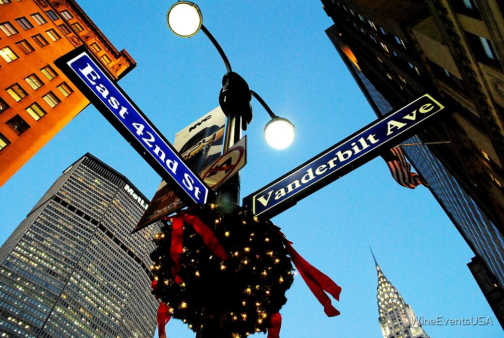 42nd St. NY, NY Manhattan Christmas Time  by WineEventsUSA