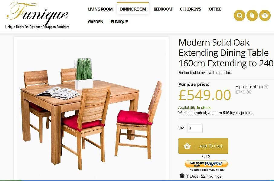 Buy European quality oak dining table and chairs online at funique by joseph002