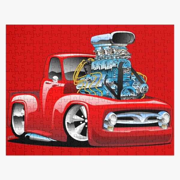American Classic Hot Rod Pickup Truck Cartoon Jigsaw Puzzle