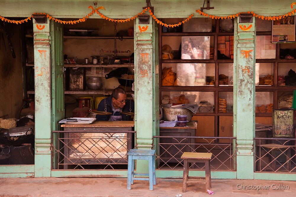 Bhaktapur shop front by Christopher Cullen