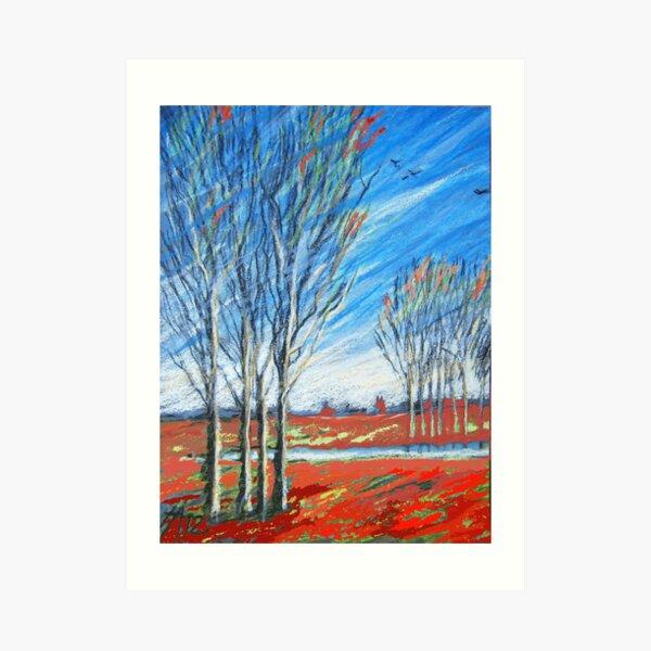 blauer wind über rot Art Print