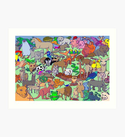 World Wildlife - Coloured Art Print