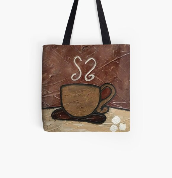 Coffee Cup Painting All Over Print Tote Bag