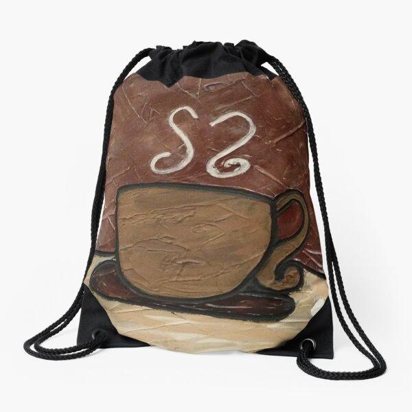 Coffee Cup Painting Drawstring Bag