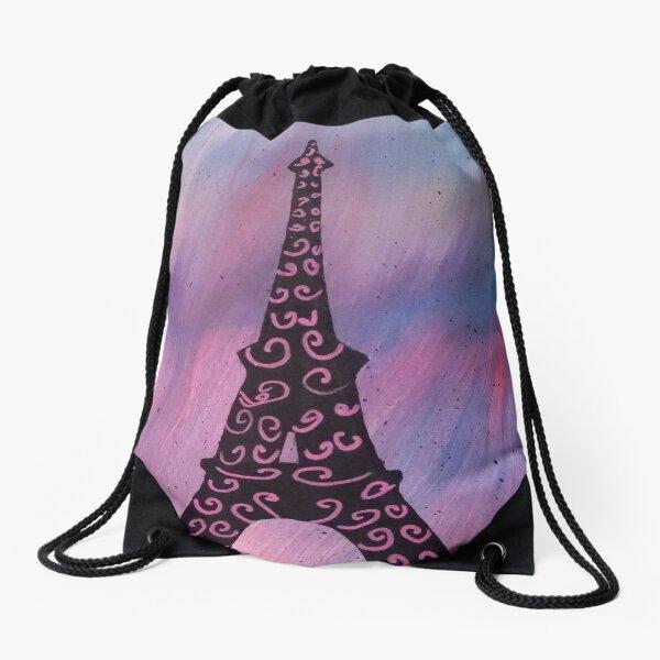 Eiffel Tower Painting Drawstring Bag