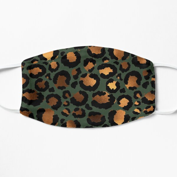 GREEN CHEETAH PRINT FACE MASK PHONE CASE ANIMAL PRINT SAFARI ANIMALS LEOPARD ZEBRA TIGER Flat Mask