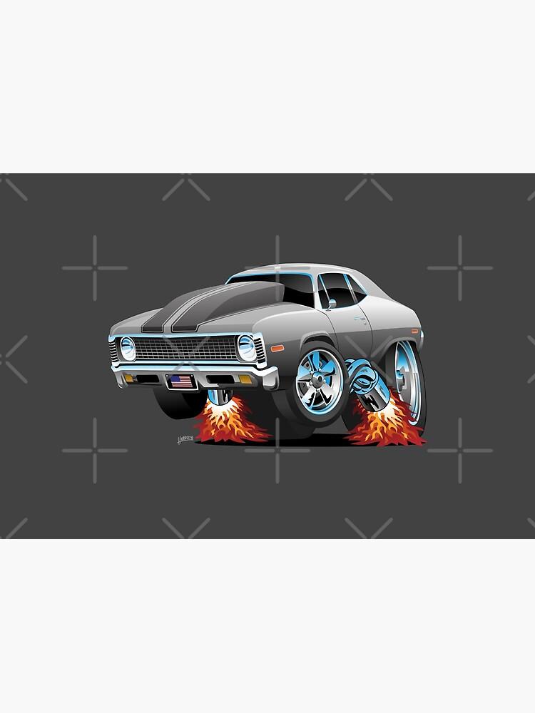 Classic American Muscle Car Hot Rod Cartoon by hobrath